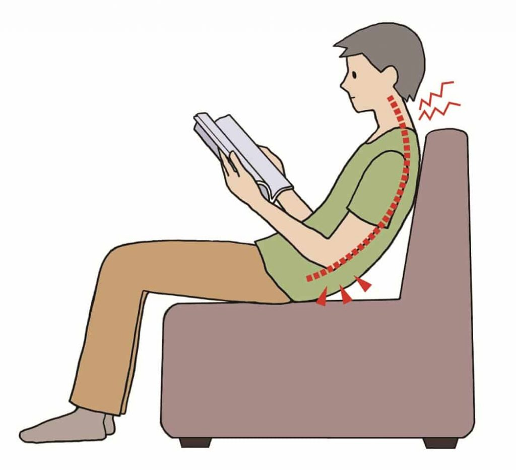 wrong posture slouching on chair