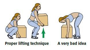 correct position to lift heavy item